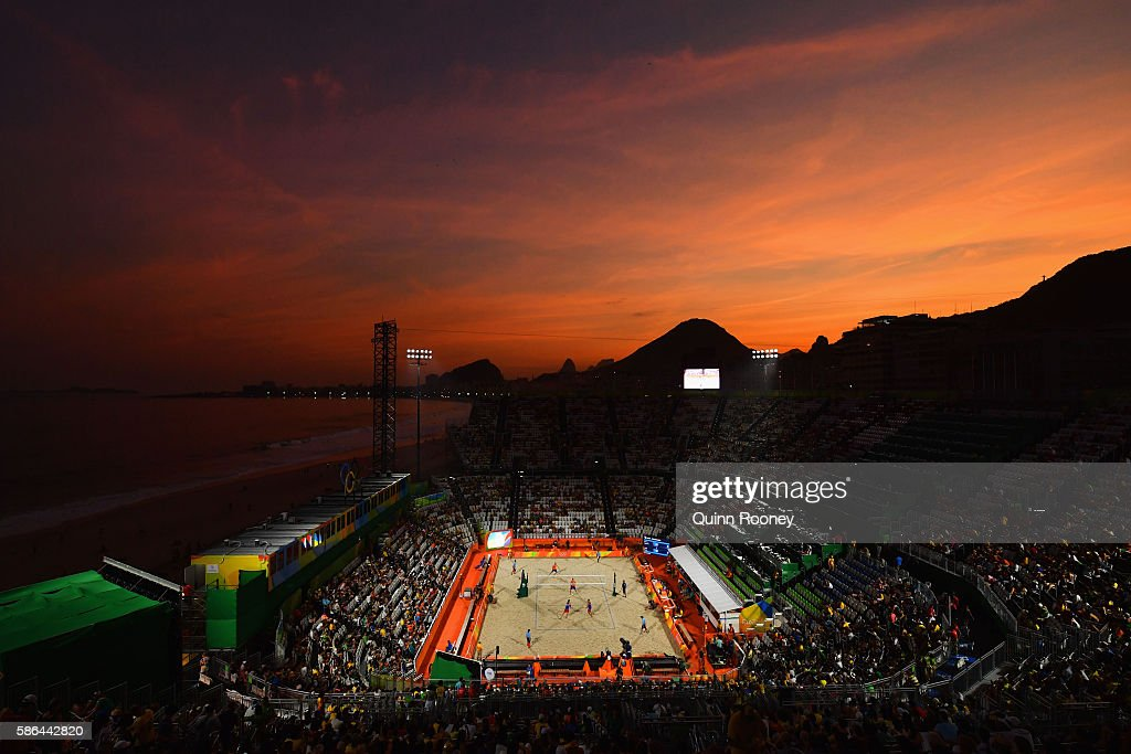 A general view as the sun sets on Day 1 of the Rio 2016 Olympic Games at the Beach Volleyball Arena on August 6, 2016 in Rio de Janeiro, Brazil.