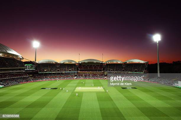 General view as the sun sets on day three of the Third Test match between Australia and South Africa at Adelaide Oval on November 26, 2016 in...