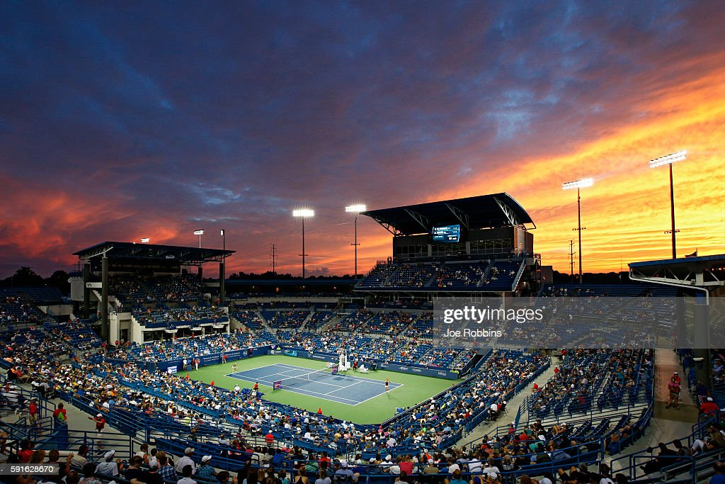 General view as the sun sets on the match between Kristina Mladenovic of France and Angelique Kerber of Germany on Day 5 of the Western & Southern Open at the Lindner Family Tennis Center on August 17, 2016 in Mason, Ohio.