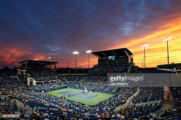 General view as the sun sets on the match between Kristina Mladenovic of France and Angelique Kerber of Germany on Day 5 of the Western Southern Open...