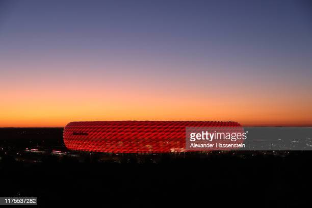 A general view as the sun sets outside the stadium ahead of the UEFA Champions League group B match between Bayern Muenchen and Crvena Zvezda at...