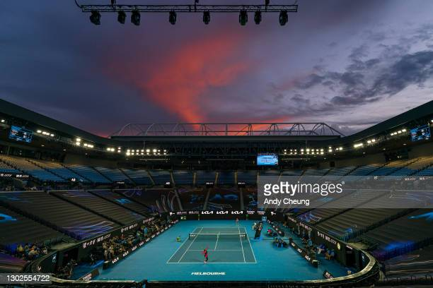 General view as the sun sets over Rod Laver Arena during the Women's Singles Quarterfinals match between Serena Williams of the United States and...