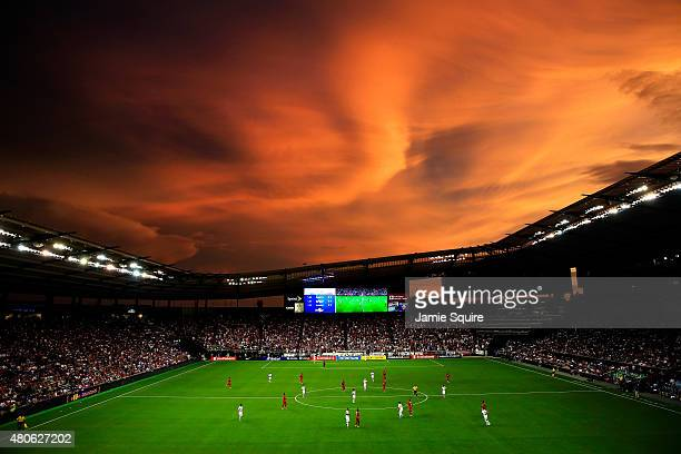 General view as the sun sets over Sporting Park during the CONCACAF Gold Cup match between Panama and the United States at Sporting Park on July 13,...