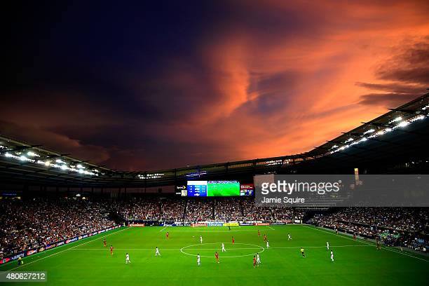 A general view as the sun sets over Sporting Park during the CONCACAF Gold Cup match between Panama and the United States at Sporting Park on July 13...