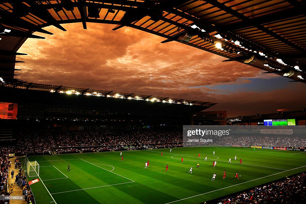 A general view as the sun sets over Sporting Park during the CONCACAF Gold Cup match between Panama and the United States at Sporting Park on July 13, 2015 in Kansas City, Kansas.