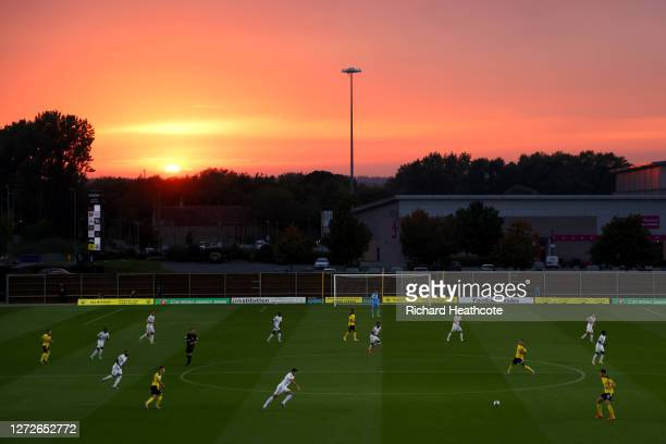 General view as the sun sets over the stadium during the Carabao Cup Second Round match between Oxford United and Watford FC at Kassam Stadium on...