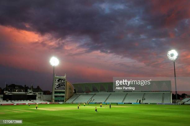 General view as the sunsets during the T20 Vitality Blast match between Notts Outlaws and Leicestershire Foxes at Trent Bridge on September 04, 2020...