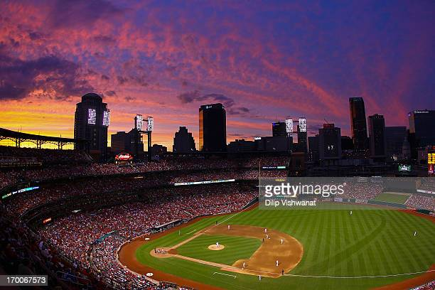 General view as the sunsets over Busch Stadium during a game between the St. Louis Cardinals and the Arizona Diamondbacks on June 6, 2013 in St....