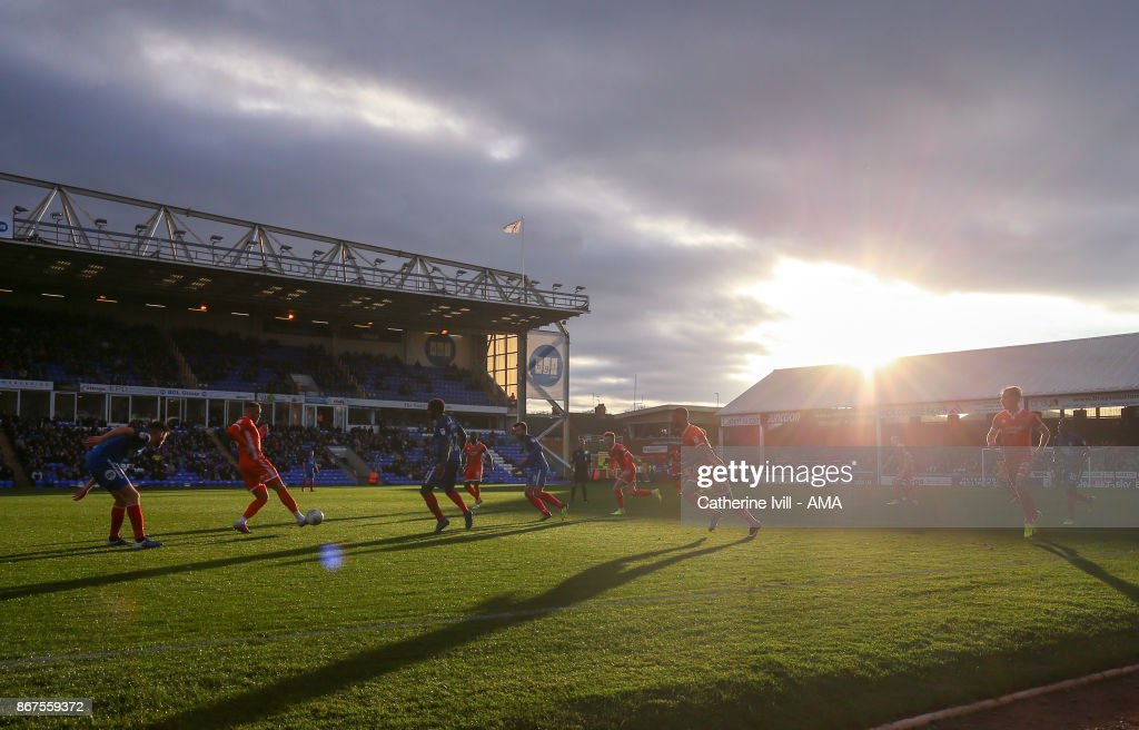 General view as the sunshines through during the Sky Bet League One match between Peterborough United and Shrewsbury Town at ABAX Stadium on October 28, 2017 in Peterborough, England.