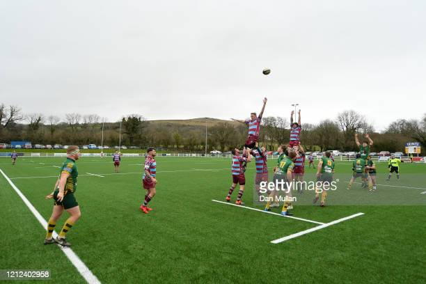 A general view as the teams compete at a lineout during the Lockie Cup Semi Final match between Old Plymouthian and Mannameadians and Plymstock...