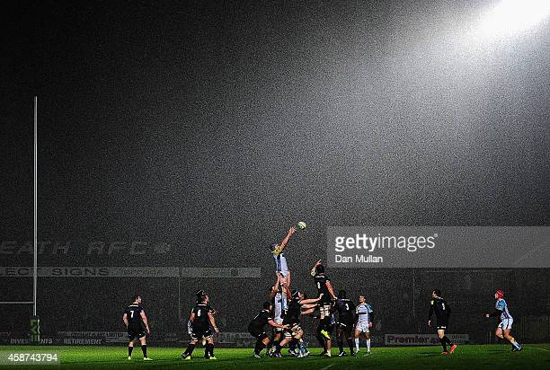 A general view as the teams compete at the lineout during the LV= Cup match between Ospreys and Saracens at The Gnoll on November 7 2014 in Neath...