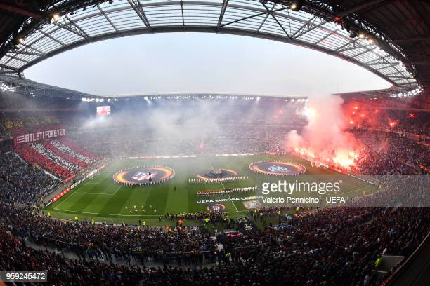 A general view as the teams line up ahead of the UEFA Europa League Final between Olympique de Marseille and Club Atletico de Madrid at Stade de Lyon...