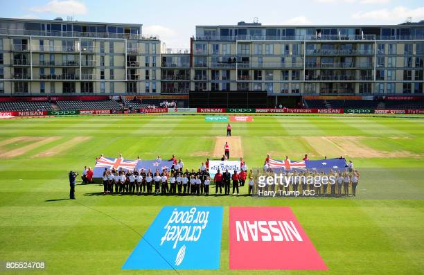 General view as the teams line up for the national anthems during the ICC Women's World Cup 2017 match between Australia and New Zealand at The...