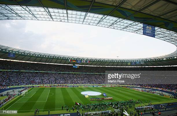 General view as the teams line up for the national anthems prior to the FIFA World Cup Germany 2006 Final match between Italy and France at the...