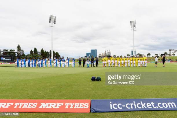 General view as the teams line up for their national anthems prior to the ICC U19 Cricket World Cup Final match between Australia and India at Bay...