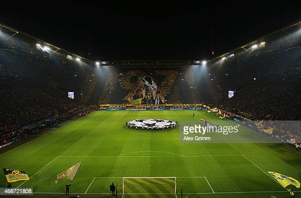 A general view as the teams line up prior to the UEFA Champions League Round of 16 between Borussia Dortmund and Juventus at Signal Iduna Park on...