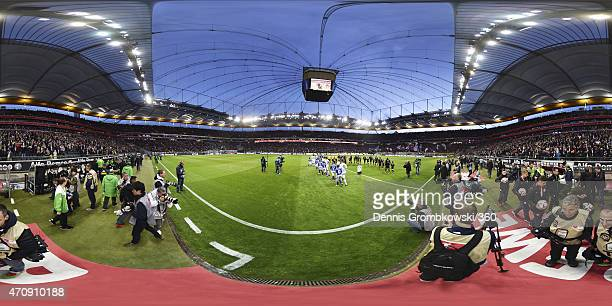 A general view as the teams make their way onto the pitch before the Bundesliga match between Eintracht Frankfurt and Borussia Moenchengladbach at...