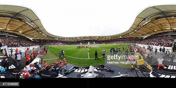 A general view as the teams make their way onto the pitch before the Bundesliga match between VfB Stuttgart and SC Freiburg at MercedesBenz Arena on...