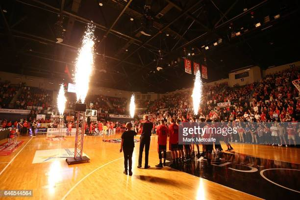 General view as the teams run onto the court during game two of the NBL Grand Final series between the Perth Wildcats and the Illawarra Hawks at WIN...