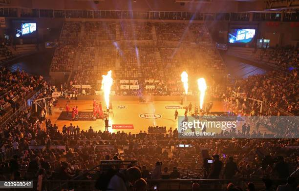 A general view as the teams run onto the court during the round 18 NBL match between Melbourne United and the Illawarra Hawks at Hisense Arena on...