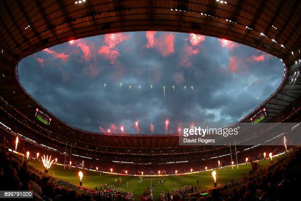 A general view as the teams run out ahead of the Aviva Premiership Big Game 10 match between Harlequins and Northampton Saints at Twickenham Stadium...