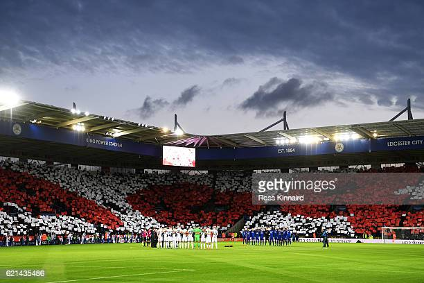 A general view as the teams take part in a minutes silence in honour of Remembrance Day prior to the Premier League match between Leicester City and...