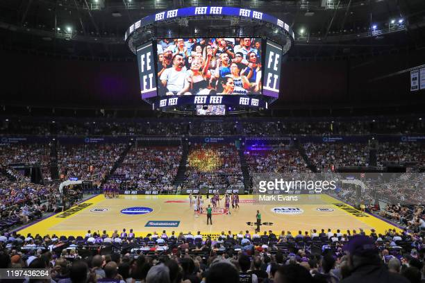 General view as the teams tip off during the round 14 NBL match between the Sydney Kings and the Adelaide 36ers at Qudos Bank Arena on January 04,...