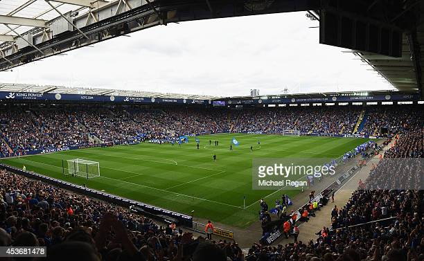 A general view as the teams walk out during the Barclays Premier League match between Leicester City and Everton at the King Power Stadium on August...