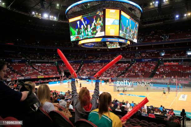 General view as the teams warm up during the round 14 Super Netball match between the Greater Western Sydney Giants and West Coast Fever at Qudos...