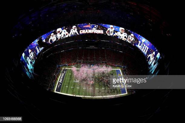 A general view as the the New England Patriots celebrate their 13 to 3 win over the the Los Angeles Rams in Super Bowl LIII at MercedesBenz Stadium...