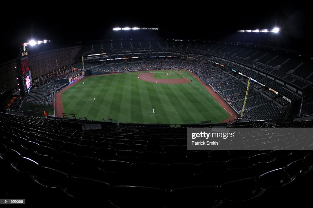 A general view as the Toronto Blue Jays play the Baltimore Orioles at Oriole Park at Camden Yards on April 11, 2018 in Baltimore, Maryland.