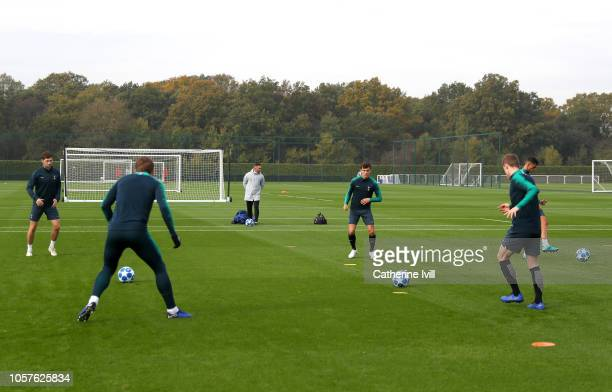 A general view as the Tottenham Hotspur team train during the Tottenham Hotspur training session at the Enfield Training Centre on November 5 2018 in...