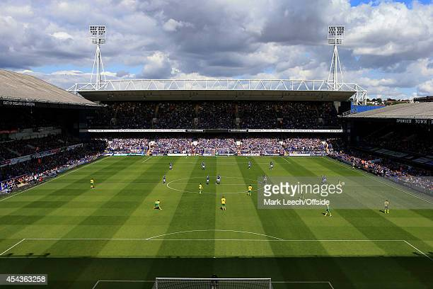 A general view as the two teams line up for kickoff prior to the Sky Bet Championship match between Ipswich Town and Norwich City at Portman Road on...