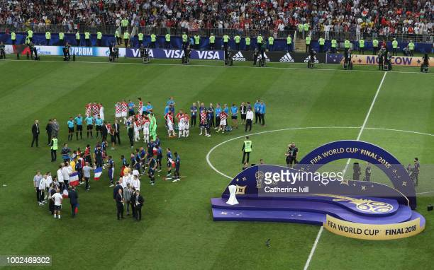 General view as the two teams wait for the medal and trophy presentation after the 2018 FIFA World Cup Russia Final between France and Croatia at...