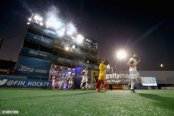 A general view as the two teams walk out prior to the Quarter final match between Belgium and New Zealand during Day 6 of the FIH Hockey World League...