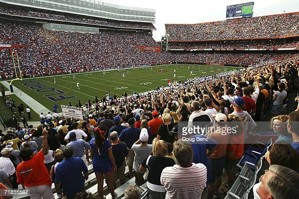 A general view as the University of Central Florida Golden Knights receive the kickoff against the University of Florida Gators at Ben Hill Griffin...