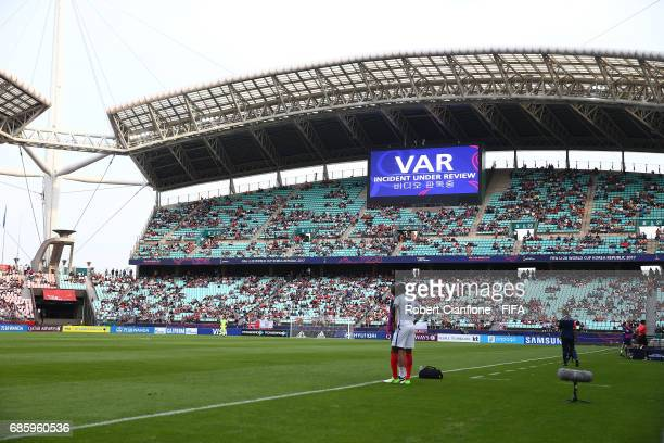 A general view as the VAR system is used during the FIFA U20 World Cup Korea Republic 2017 group A match between Argentina and England at Jeonju...