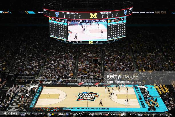 A general view as the Villanova Wildcats take on the Michigan Wolverines during the 2018 NCAA Men's Final Four National Championship game at the...