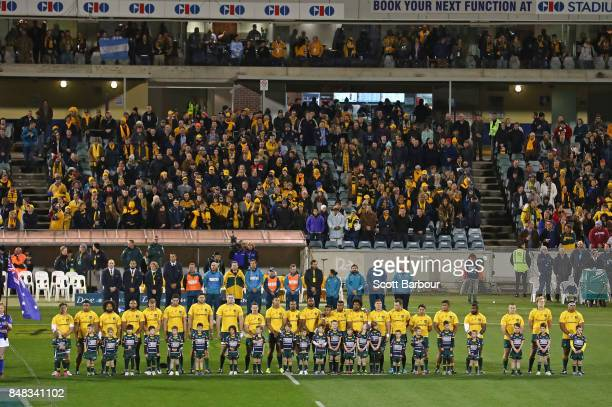 General view as the Wallabies stand for the national anthem during The Rugby Championship match between the Australian Wallabies and the Argentina...