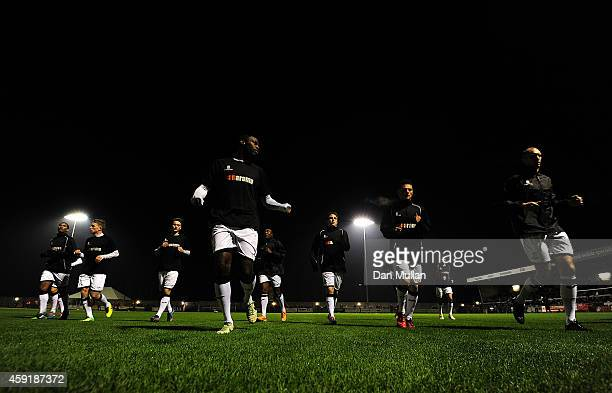 A general view as the WestonSuperMare players warm up ahead of the FA Cup First Round match between WestonSuperMare and Doncaster Rovers on November...
