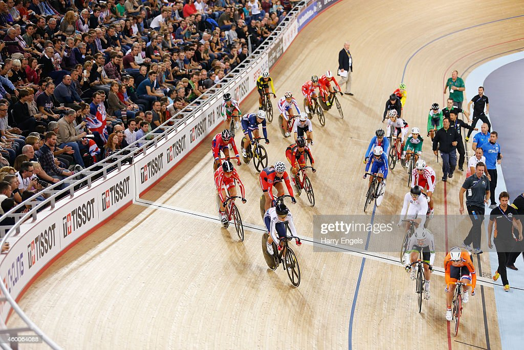 A general view as the Women's Omnium Elimination Race begins on day two of the UCI Track Cycling World Cup at the Lee Valley Velopark Velodrome on December 6, 2014 in London, England.