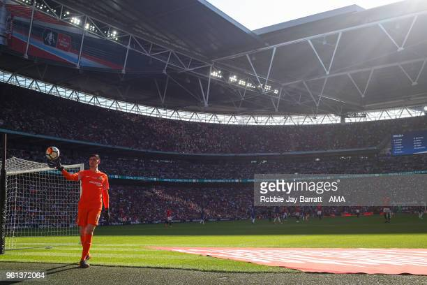 General view as Thibaut Courtois of Chelsea collect the balls during The Emirates FA Cup Final between Chelsea and Manchester United at Wembley...