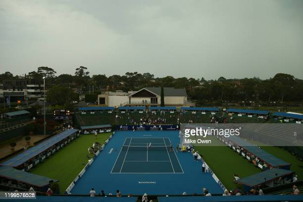 A general view as thunderstorms stop play during the Women's Singles match between CoCo Vandeweghe of the USA and Jennifer Brady of the USA day two...