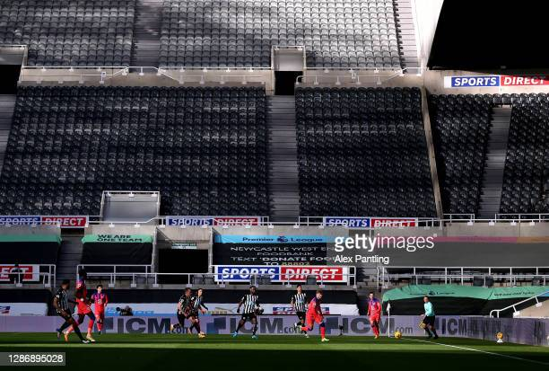 A general view as Timo Werner of Chelsea chases the ball during the Premier League match between Newcastle United and Chelsea at St James Park on...