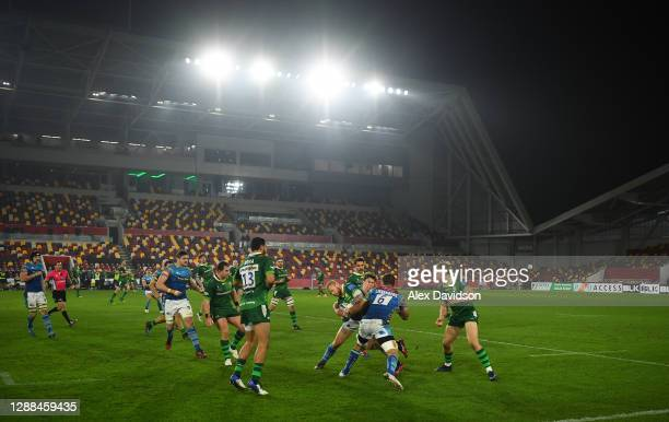 General view as Tom Homer of London Irish goes into contact during the Gallagher Premiership Rugby match between London Irish and Leicester Tigers at...