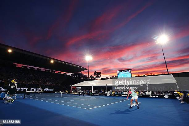 A general view as Tomas Berdych of the Czech Republic compete during day one of the 2017 World Tennis Challenge at Memorial Drive on January 10 2017...