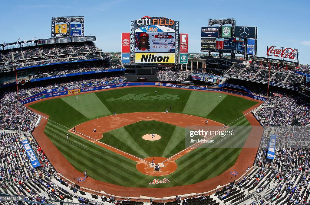 A general view as Tommy Milone #29 of the New York Mets pitches to Cameron Maybin #9 of the Los Angeles Angels of Anaheim during the first inning at Citi Field on May 21, 2017 in the Flushing neighborhood of the Queens borough of New York City.