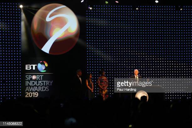 A general view as Tony Blair former British Prime Minister presents the Social and Sustainable Development Award during the BT Sport Industry Awards...