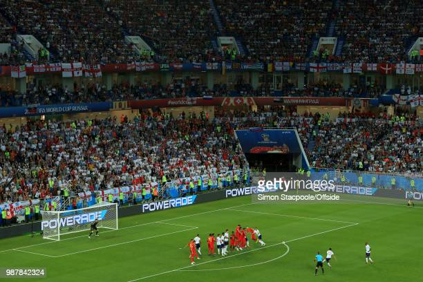 A general view as Trent AlexanderArnold of England strikes a freekick against the defensive wall during the 2018 FIFA World Cup Russia Group G match...