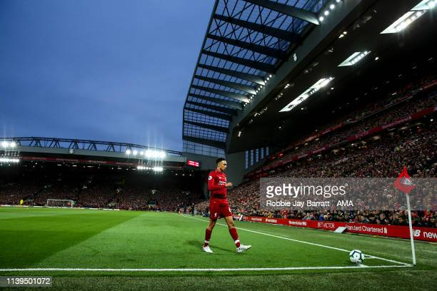 A general view as Trent AlexanderArnold of Liverpool prepares to take a corner during the Premier League match between Liverpool FC and Huddersfield...